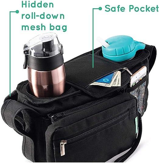 Gris Almacenamiento de Pa/ñales bolsa de mensajero o un Bolso de mano y mochila para Mam/á Orzbow Bolso Carro Beb/é Universal Gran capacidad Bolsa Organizadora de Cochecitos 35 x 31 x 19 cm