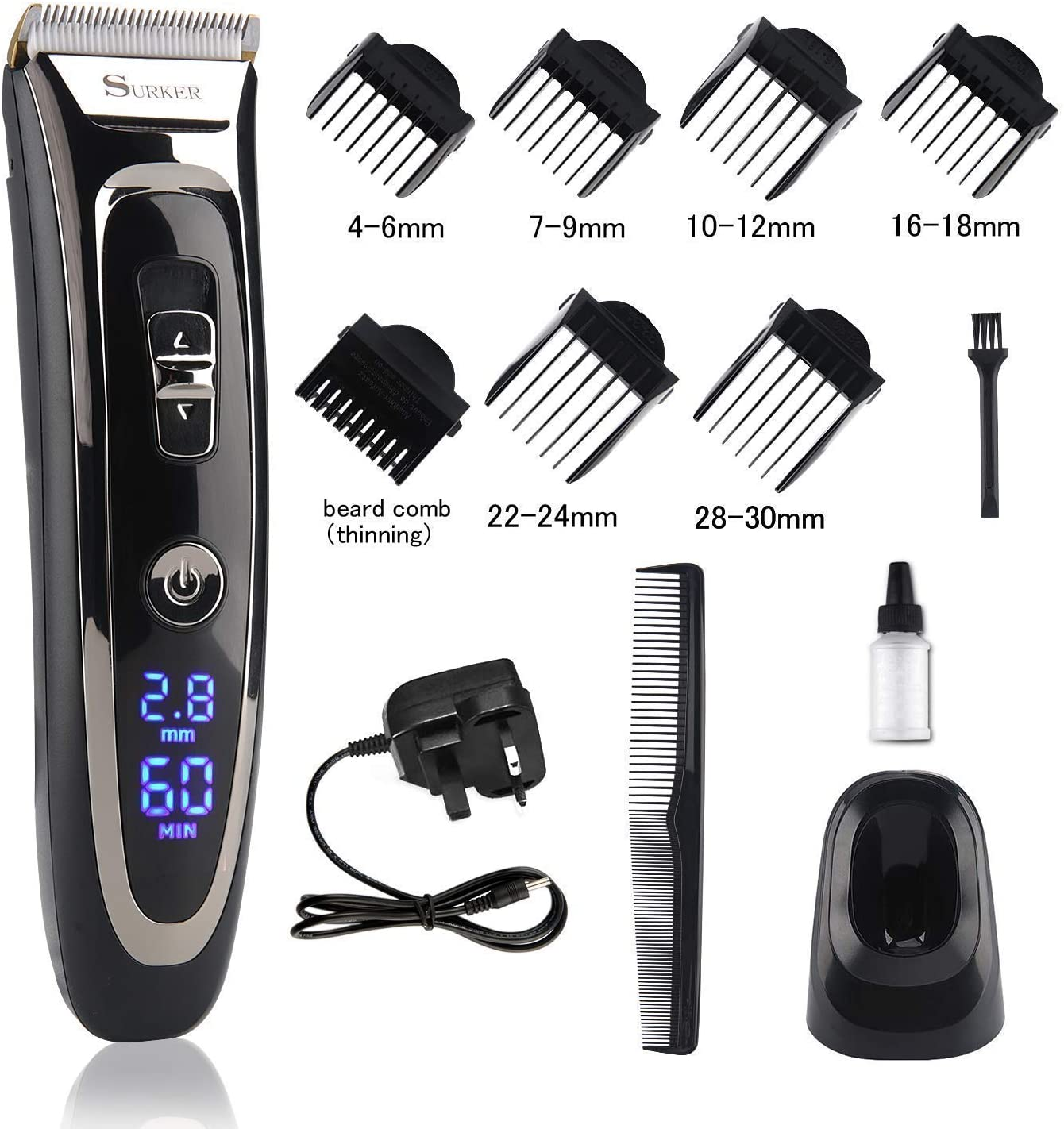 Cordless Hair Clipper Set Rechargeable Electric Hair Trimmer Mens Grooming  Kit Hair Cutting Machine with LED Display Waterproof Ceramic Blade Hair