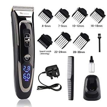 Cordless Hair Clipper Set Rechargeable Waterproof Electric Hair Trimmer  Mens Grooming Kit Hair Cutting Machine with LED Display Ceramic Blade Hair