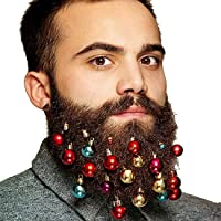 Kihappy Beard Ornaments 12pc Colorful Christmas Hair Ball Baubles for Santa Claus Beard Clip Men