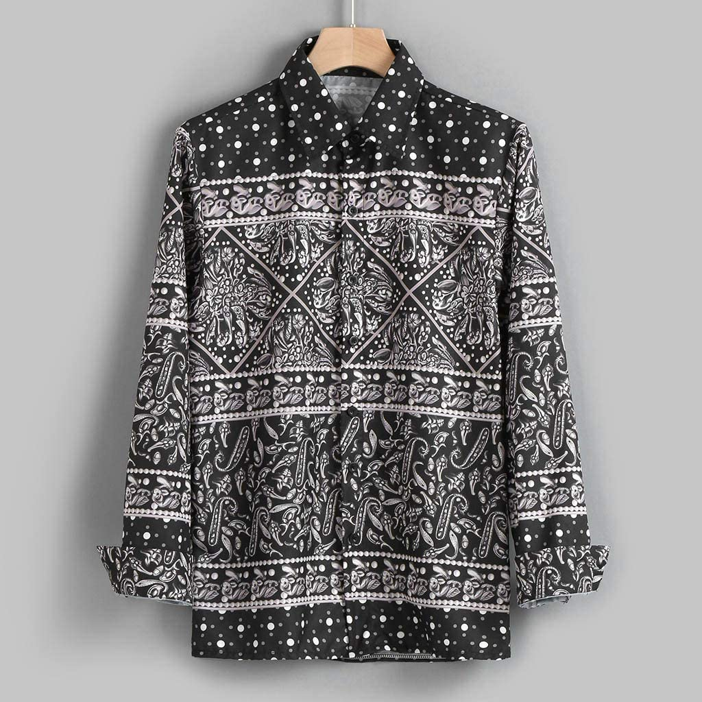 Mens Autumn Fashion Shirt Casual Long Sleeve Beach Top Loose Casual Shirt Blouse