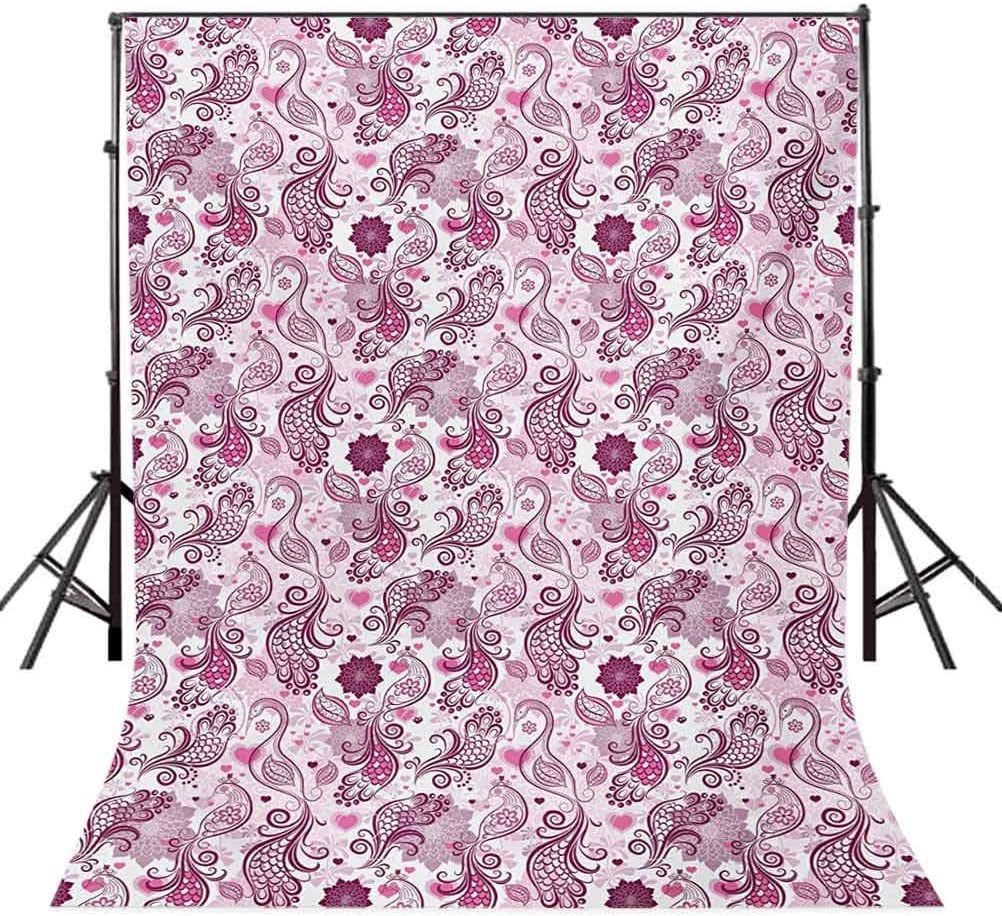Purple 10x15 FT Photo Backdrops,Scales Swirls and Hearts in Romantic Depiction of Nature with Birds and Flowers Background for Baby Shower Bridal Wedding Studio Photography Pictures Mauve Plum Pink