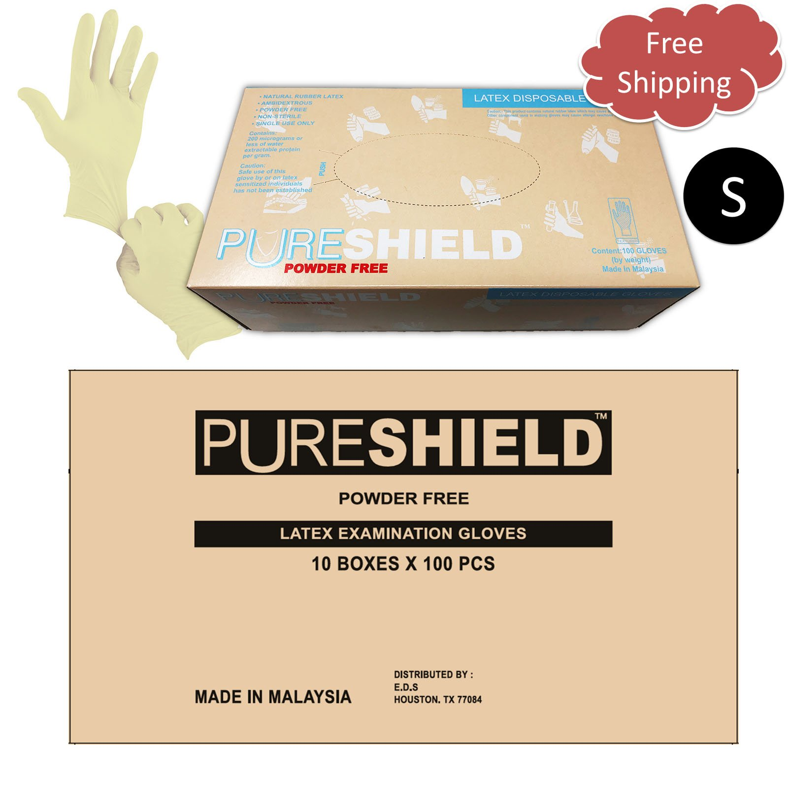 PURESHIELD Latex Gloves, 9.5'' Length, Powder Free, 6 mil, Powder Free (Case of 1,000) (Small)