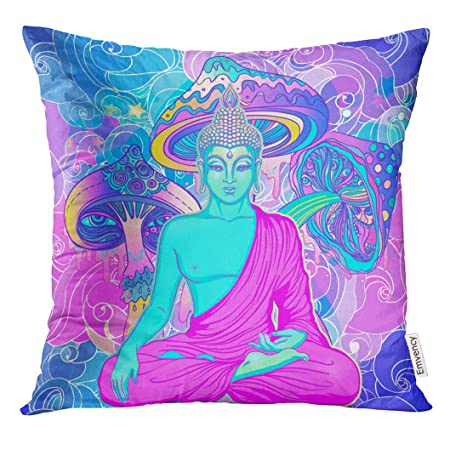 Golee Throw Pillow Cover Sitting Buddha Over Colorful Neon Stunning Buddha Decorative Pillows