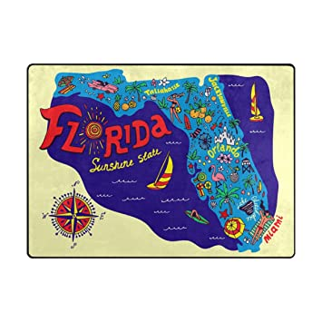 Map Of Florida Tourist Areas.Amazon Com My Daily Cartoon Map Of Florida Travel And Attractions