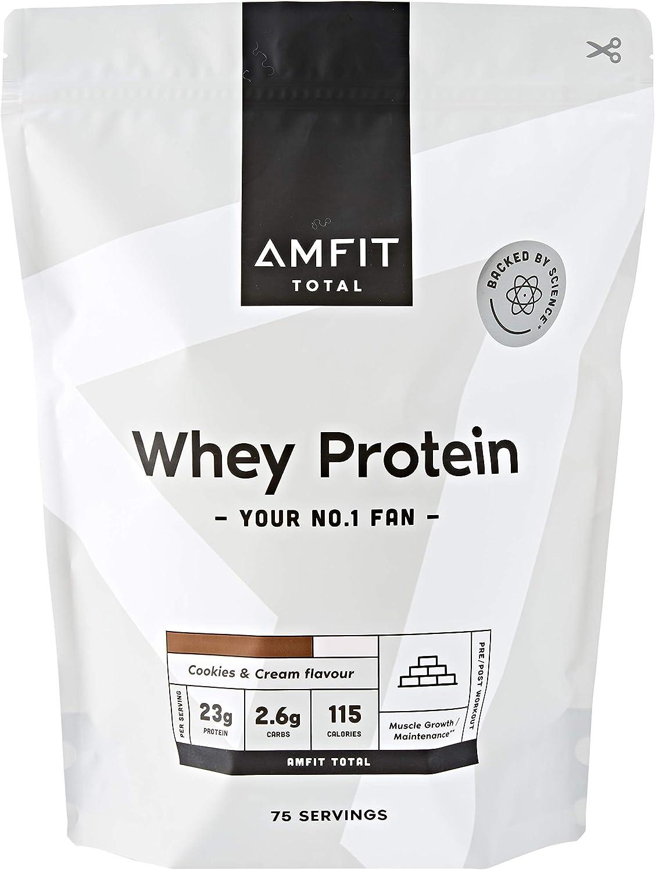 Marca Amazon - Amfit Nutrition Proteína de Suero de Leche en Polvo 2.27kg - Galleta y nata (anteriormente PBN)