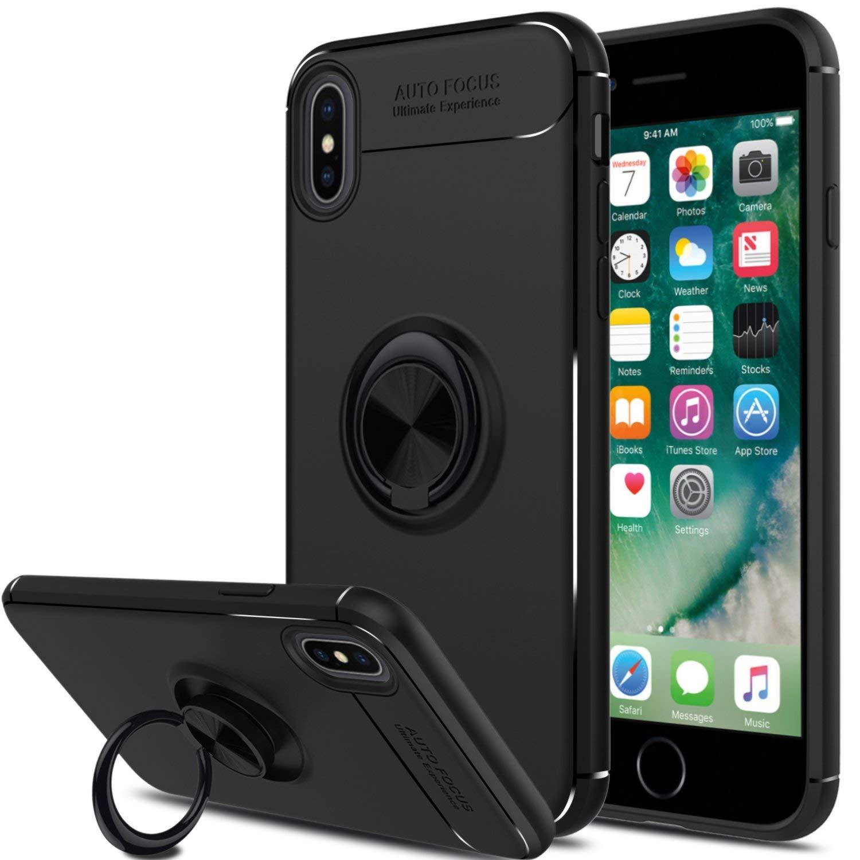 iPhone X用GARDEXケース、衝撃吸収、リングホルダーキックスタンド、磁気吸引ブラケットバンパーカバー - ブラック   B07H2BYLLD