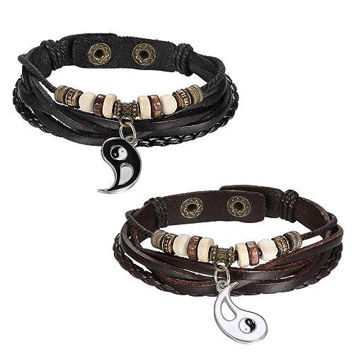 55c0e56ee784 JewelryWe Schmuck 2PCS Herren Damen Armband, Retro Tai Chi Yin Yang  Geflochten Armreif, Lieben Valentinstag Paar Geschenk, Legierung Leder  Echtleder, ...