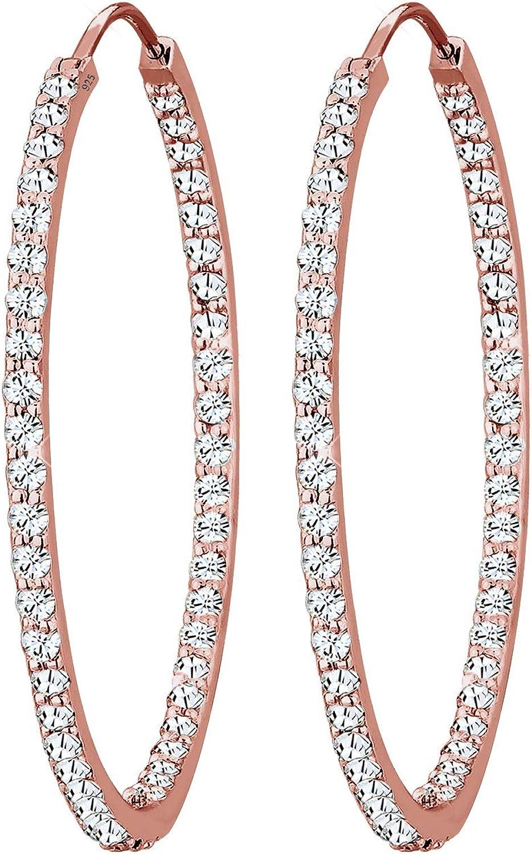 Elli - Pendientes para mujer, diseño de aros de plata de ley 925 color dorado rosa con cristales de Swarovski en oro y de talla brillante - 0303913015