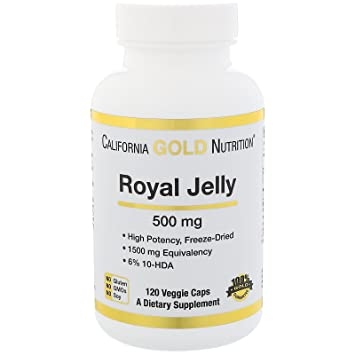 California Gold Nutrition Royal Jelly 500 mg 120 Veggie Caps, Milk-Free, Egg