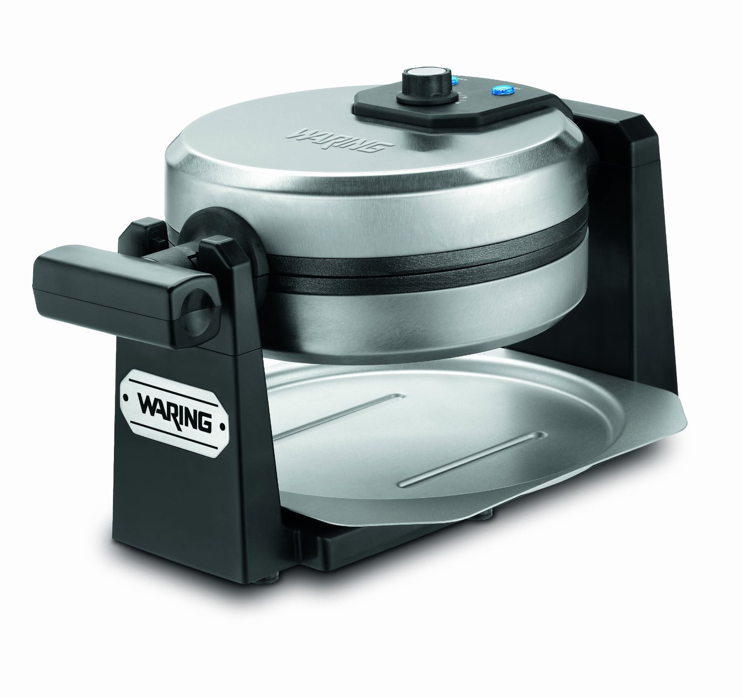 Waring Pro Waffle Maker with Deep 1-Inch Belgian Waffle Grids and Rotary Browning Control Knob, Blue LED Indicator Lights, Removable Drip Tray, Bonus FREE Measuring Cup Included, Stainless Steel/Black Design by Waring