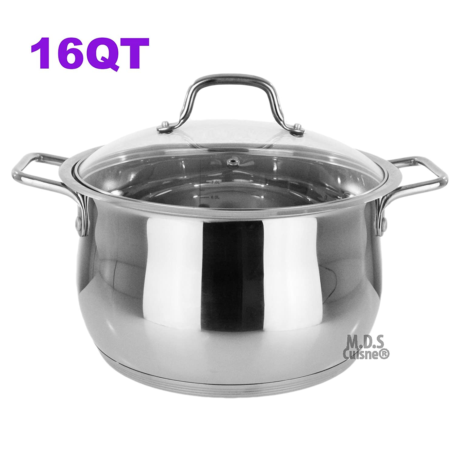 Stockpot 16 Qt Stainless Steel Commercial Tri-Ply Capsule Bottom Dutch Oven Stock Pot