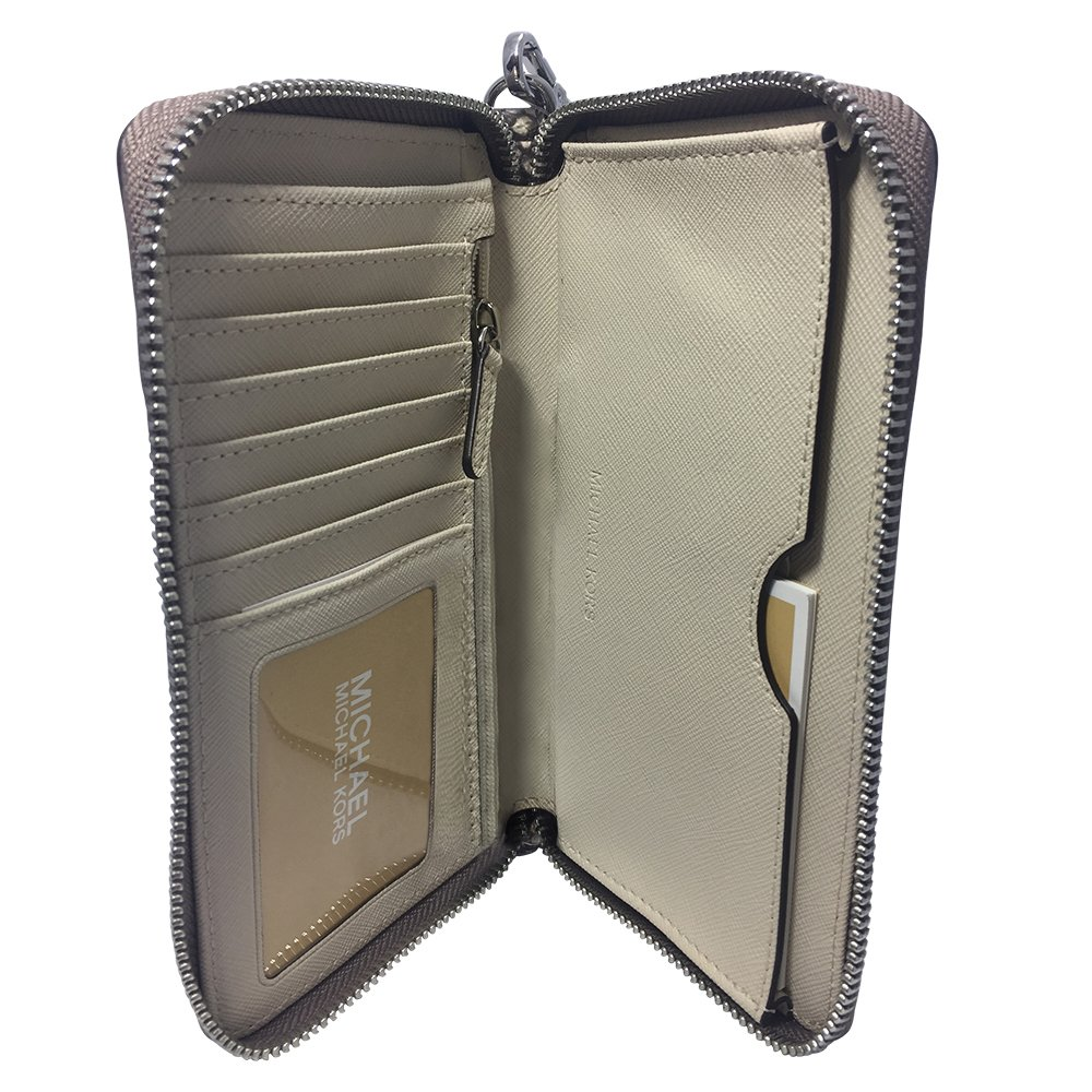 Amazon.com: Michael Kors Fulton Large Flat Multifunction Phone Case Embossed Leather Natural: Clothing