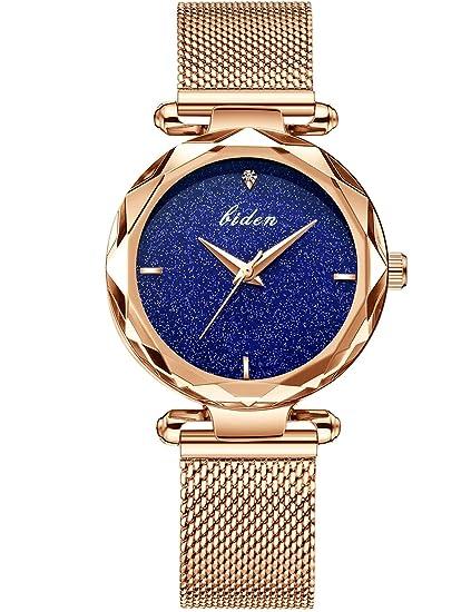 Reloj mujer dorado mujer Reloj De Pulsera Acero Inoxidable Pulsera de malla metal banda Reloj Oro