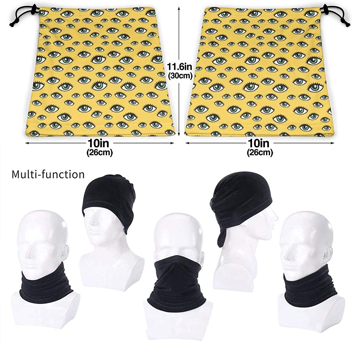 Eyes Pattern Microfiber Neck Warmer Balaclavas Soft Fleece Headwear Face Scarf Mask For Winter