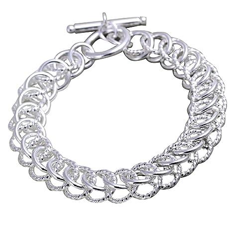 c94679a740d6 joyliveCY 2018 moda mujeres de la joyería elegante 925 bañado en plata  pulsera gran aro cruz
