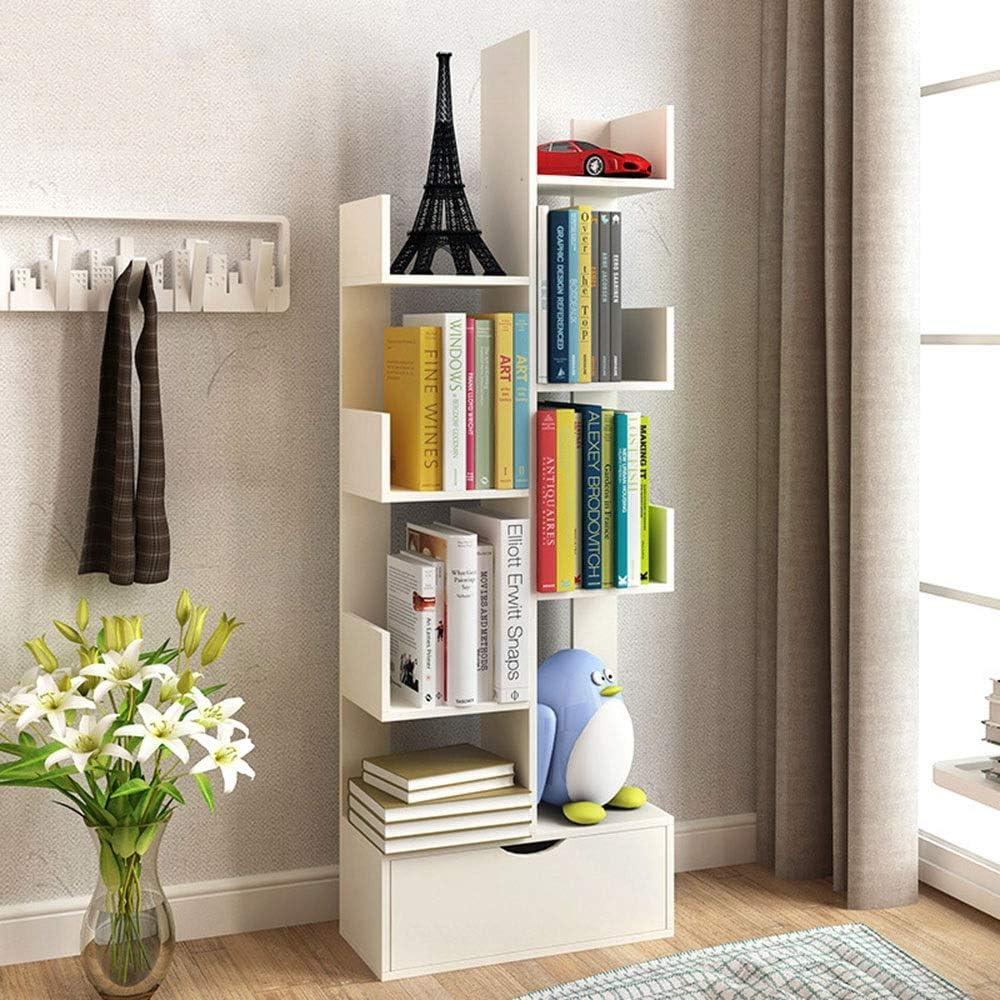 本棚 リビングルームのホームオフィスの寝室の装飾多目的本棚用棚浴室の床キャビネットの引き出しキャビネット モダンな寝室の本棚 (Color : White, Size : 137x48x20cm)