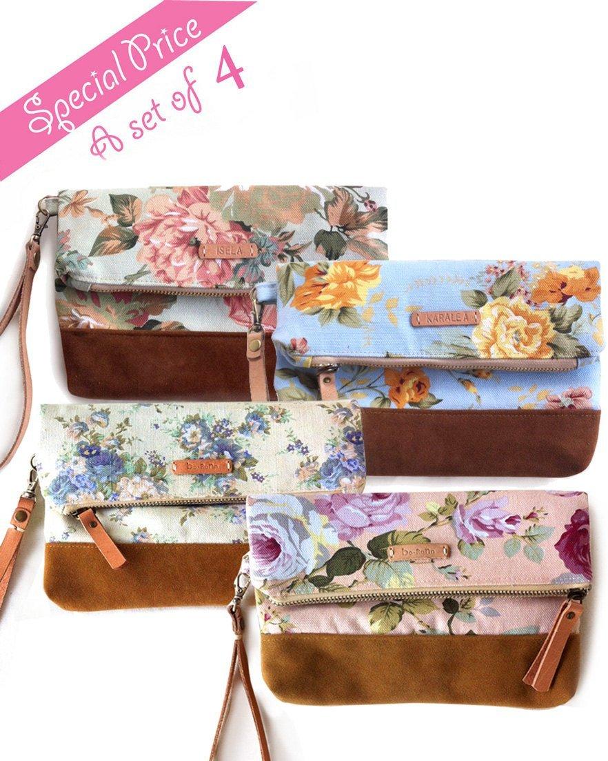 SET OF 4 Borann -Bridesmaid Gift-Bridesmaid clutchWomen Floral Monogram Canvas Clutch Handbag Purse Bridesmaid Gift Personalized Your Name