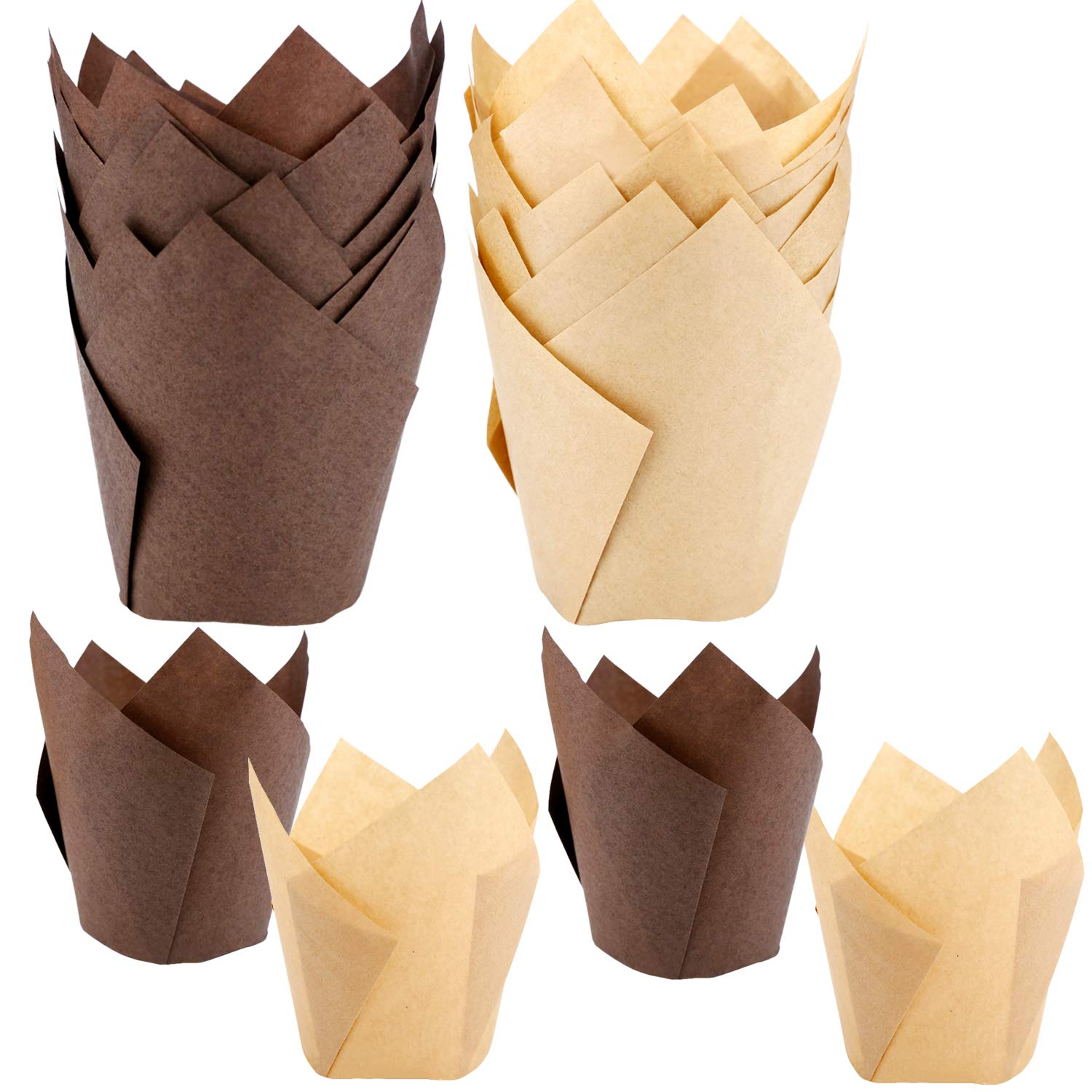 120 Pieces Tulip Cupcake Liner Baking Cups Muffin Tins Treat Cups for Weddings, Birthdays, Baby Showers,Brown and Natural