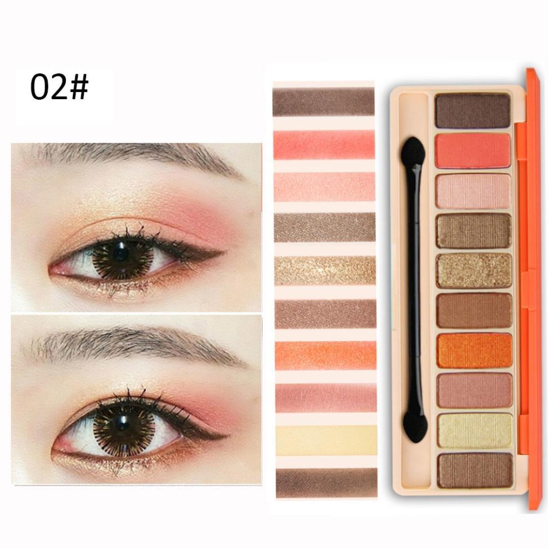 10 Colors Women Girls Powder Smoky Eyeshadow Cosmetic Pulison(TM) Fashion Matte Available Eye Shadow Palette Makeup Set (B)