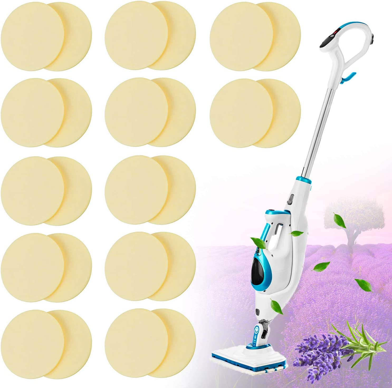 Replacement Steam Mop Scent Discs Lavender Fragrance Discs Pads Steam Mop Compatible with Bissell Powerfresh and Symphony Series Fits Model 1940, 1806 and 1132, Lavender Fresh Fragrance (24 Pack)