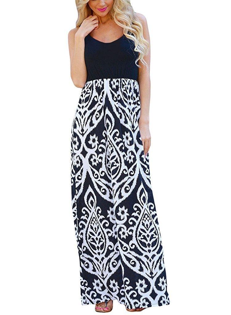 OURS Women's Sleeveless Long Maxi Dresses for Women (White, XL)