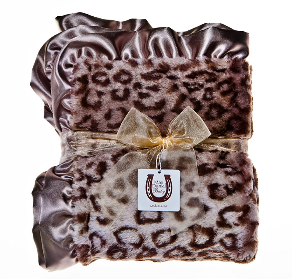 Max Daniel Child Grey Jaguar Throw Blanket - Double Sided - Satin Ruffle