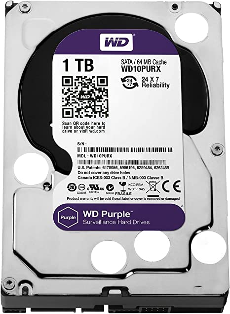 WD Purple - Disco duro para videovigilancia de 1 TB (Intellipower ...