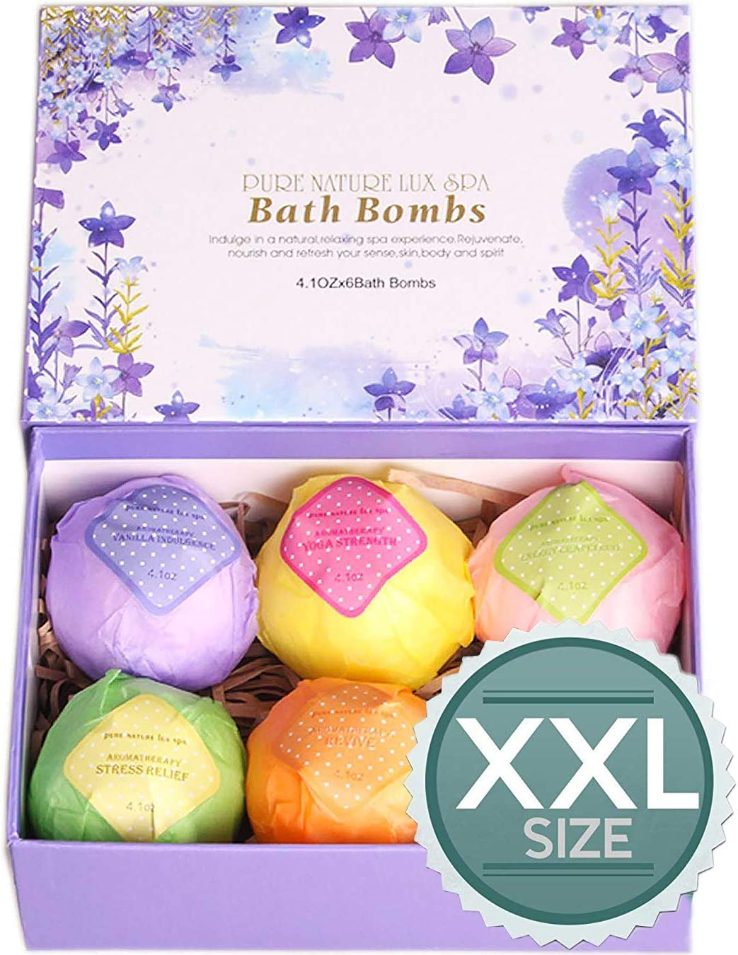 An image of a violet box containing six different color bath bombs.