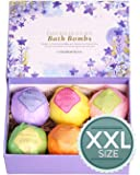 LuxSpa Bath Bombs Gift Set - The Best Ultra Natural Bubble Fizzies with Dead Sea Salt Cocoa and Shea Essential Oils, 6 x…