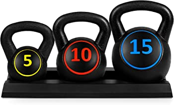 Best Choice Products 3-Piece Kettlebell Set with Storage Rack