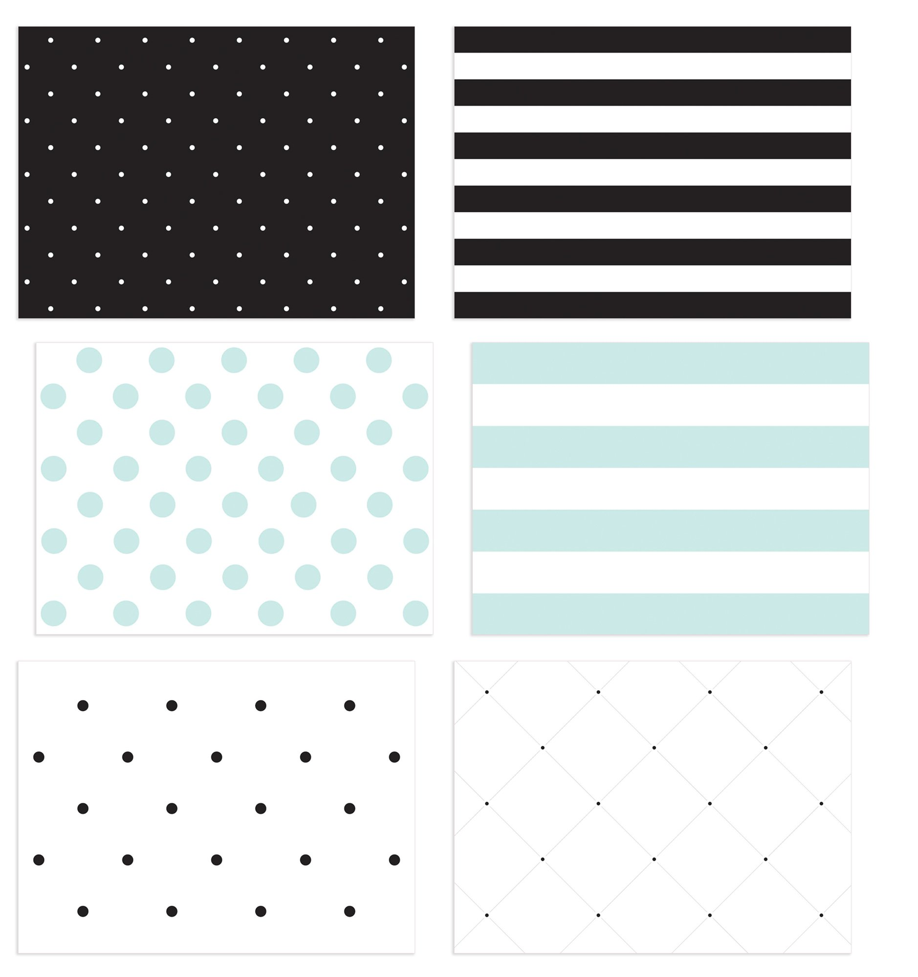 36 Pack Blank Note Cards, 6 All Occasion Polka Dot and Striped Designs, Greeting Card Bulk Box Set, Blue, Black and White Notecards, Blank Note Cards with Envelopes Included, 4.75 x 3.5 Inches