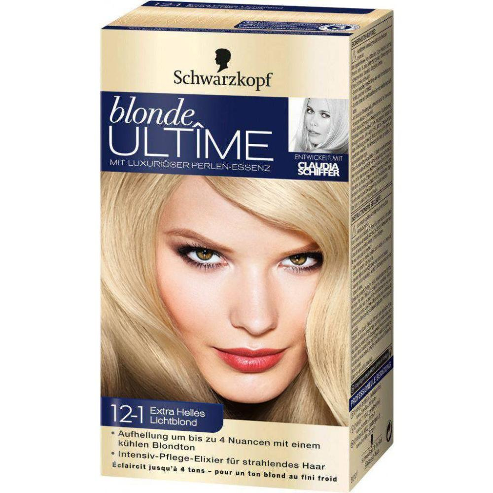 Nero testa bionda ultîme con pregiata Perle di essenza capelli colore n. 12–1Extra Brillante Luce biondo per una luminosità fino a 4Sfumature con un fresco Blond Ton. Schwarzkopf