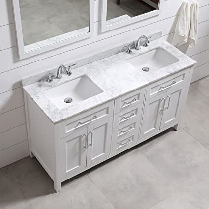 Ove Decors Tahoe 60W Marble Top Bathroom Double Sink Vanity  60 Inch By 21