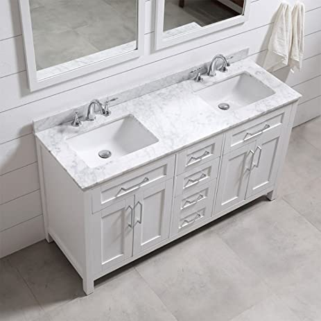 ove decors tahoe 60w marble top bathroom double sink vanity 60inch by 21