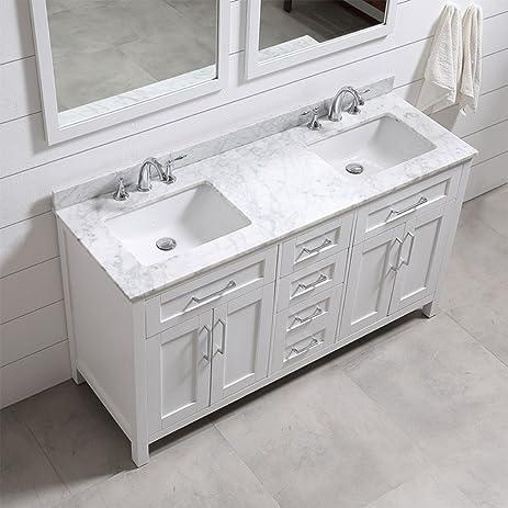 double sink vanity 60 inch. Ove Decors Tahoe 60W Marble Top Bathroom Double Sink Vanity  60 Inch by 21