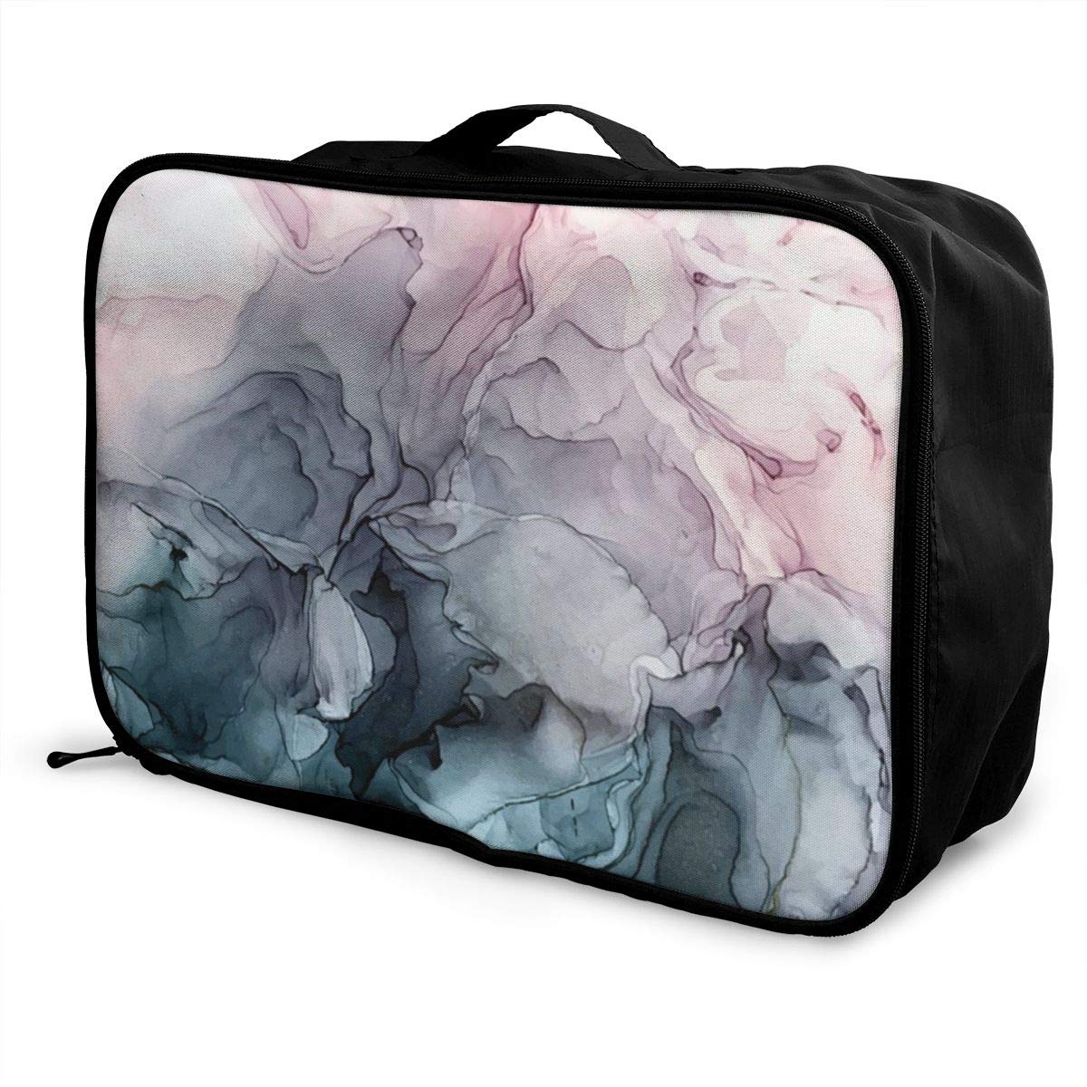 Blush And Paynes Grey Flowing Abstract Painting Travel Lightweight Waterproof Foldable Storage Portable Luggage Duffle Tote Bag Large Capacity In Trolley Handle Bags 6x11x15 Inch