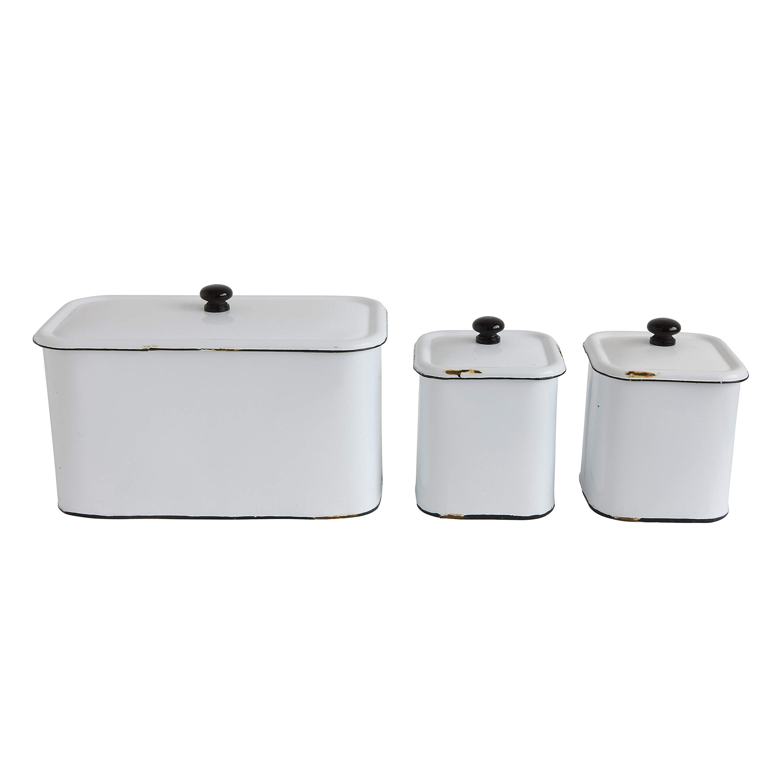 Creative Co-Op DA8344 Set of 3 Distressed White Decorative Metal Boxes with Lids