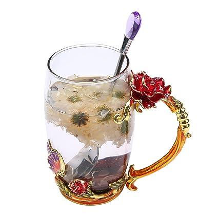 For Flower HandleUnique Cup Gift DecorationBirthdayWedding CupCreative Enamel Tea With Crystal Metal Aolvo Coffee Great Glass Mug 8OPkXZ0wNn