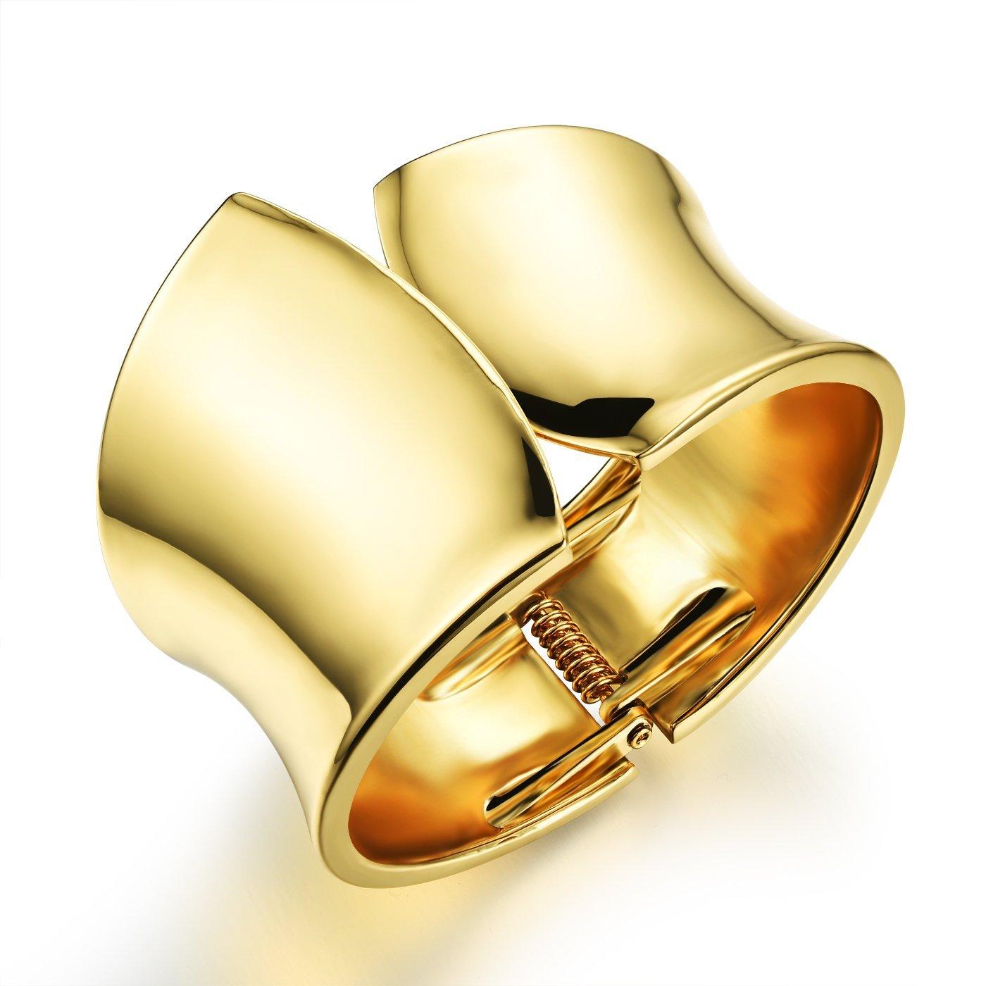 Fashion Bracelets 18K Gold Tone Smooth Wide Uncompacted Bracelet for Women L7.08''