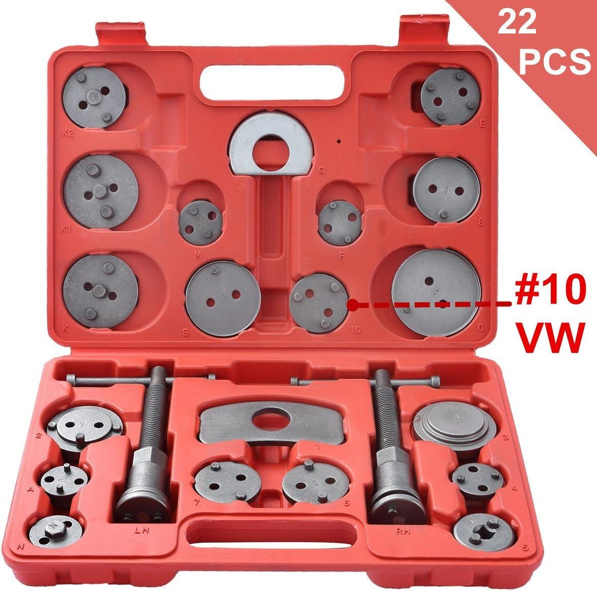 DASBET 22pcs Universal Disc Brake Caliper Piston Compressor Wind Back Repair Tool Kit for Cars