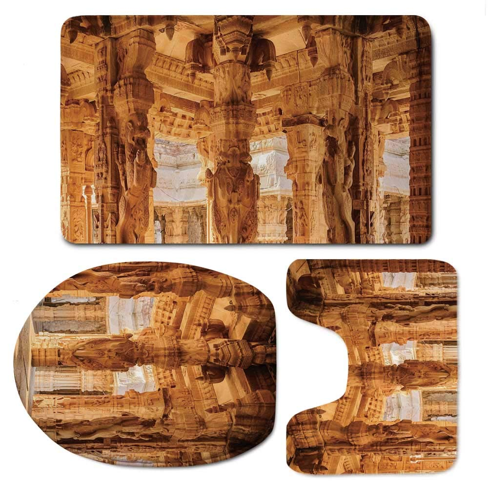 Ancient Vaurious Comfortable Bathroom 3 Piece Mat Set,Historical Columns Architecture Ruins Famous Ethnic Monument Culture Picture Print Decorative for Office,F:20'' W x31'' H,O:14'' Wx18'' H,U:20'' Wx16''
