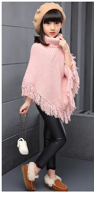 Fankeshi Girls High Neck Knitted Poncho Tassel Draped Cloak Coat Cape Sweater
