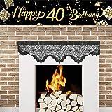 Mocossmy Happy 40th Birthday Banner,Black Gold 40th Birthday Party Banner,Cheers to 40 Years Banner Sign,Party Decorations Su
