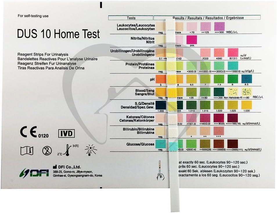 10 x Tiras reactivas de analisis de orina de 10 parametros ...