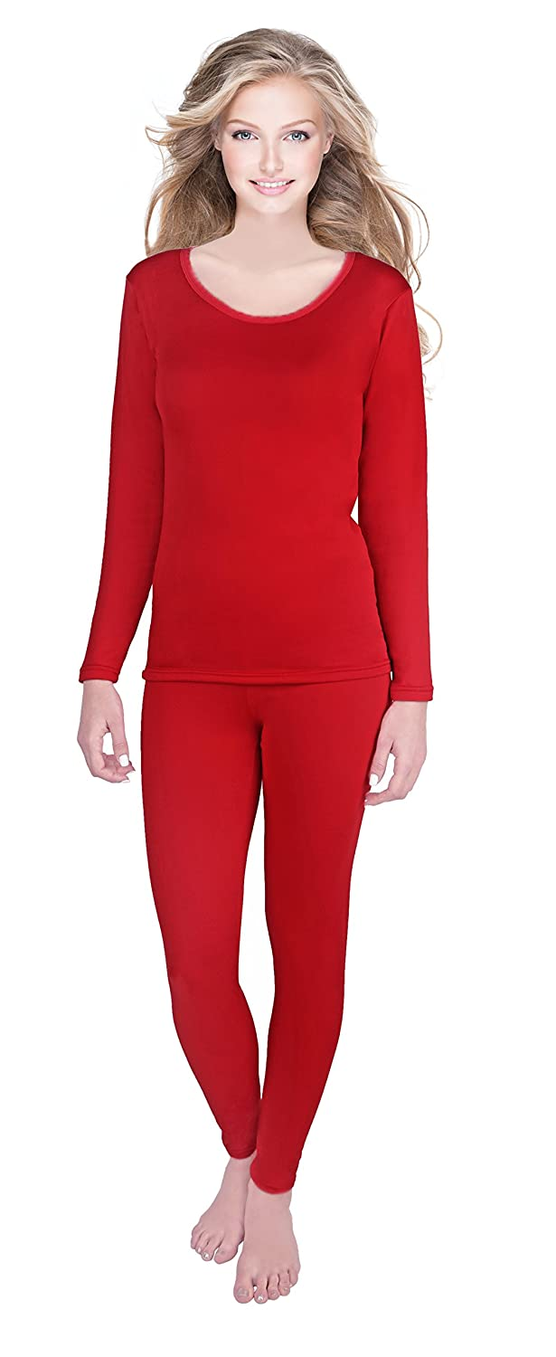 e566c241915fc4 Rocky Womens Thermal 2 Pc Long John Underwear Set Fleece Lined Top and  Bottom (XLarge, Red- Fleece Lined): Amazon.co.uk: Clothing
