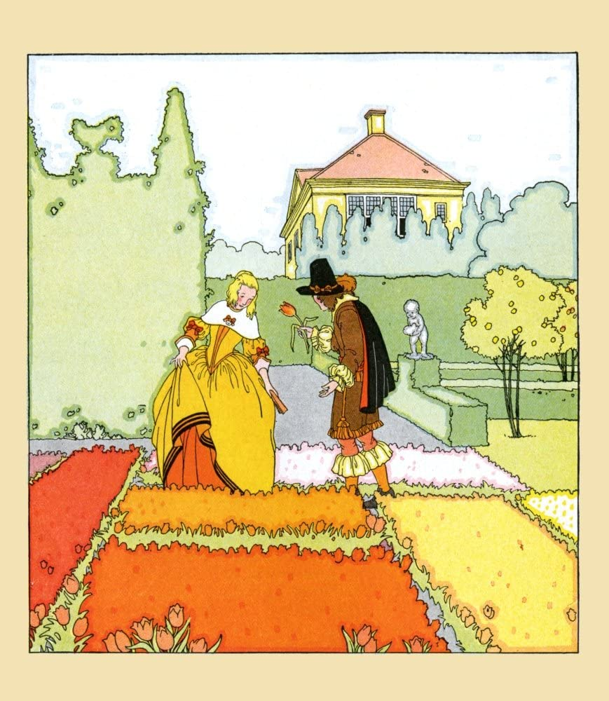 As a woman walks through the tulip beds of the garden a gentleman hands her one Poster Print by Maud & Miska Petersham (24 x 36)