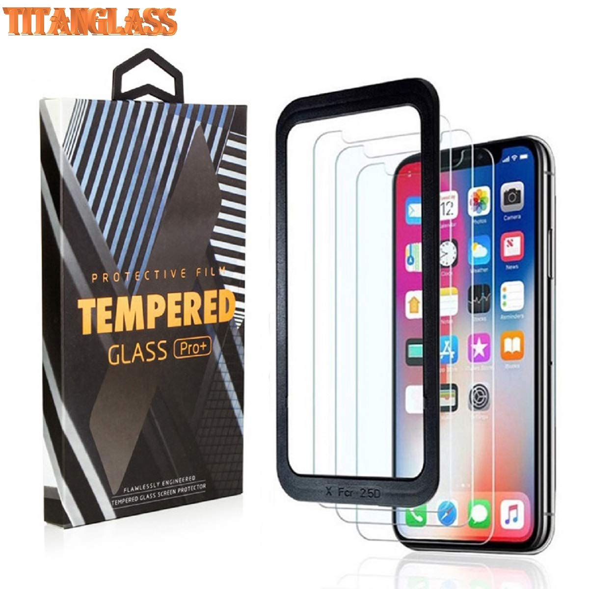 TitanGlass,3-PackTempered Glass Screen Proctector HD Clarity 0.25mm for iPhone Xs Max Anti Scratch with Alignment Frame