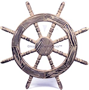 Nagina International Rustic Antique Beautiful Wall Decor Handcrafted Pine Nautical Ship Wheel | Maritime Exclusive Wall Decor (12 Inches, Junky White)