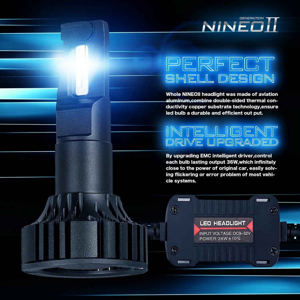 NINEO 9005 HB3 LED Headlight Bulbs CREE Chips,12000Lm 5090Lux 6500K Extremely Bright All-in-One Conversion Kit,360 Degree Adjustable Beam Angle